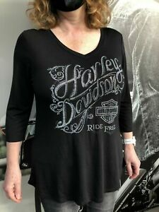 Harley-Davidson Womens Black Sparkle Exhale T-Shirt Top Lancashire England Small