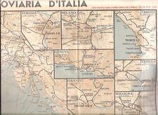 CARTA MAPPA ITALIA EUROPA FERROVIARIA ORARIO POZZO FERROVIE ANNI 1940