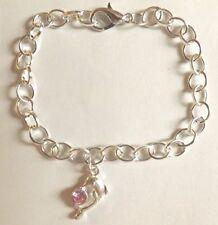 bracelet argenté 20 cm dauphin strass rose