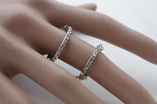 Elastic Double Chain Bands Classic Fancy Women Silver Metal Ring Fashion Jewelry