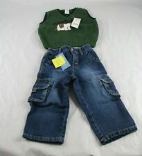 Gymboree NWT Boys Canine Academy Sweater Denim Pants Jeans Sz 18-24 Months O35