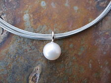 14KT White Gold & Paspaley South Sea Pearl Pendant Simple Elegant Design NEW