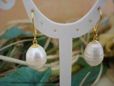 Ohrringe 925er Silber vergoldet, echte große barocke Perlen 11x14mm Weiß Elegant