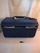 Vtg 60's Samsonite Blue Hard Luggage Make-Up Vanity Train Travel Case Mirror KEY