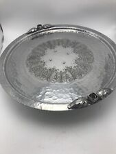 Lazy Susan Continental Aluminum Acorns Hammered Repousse Catering Silvertone