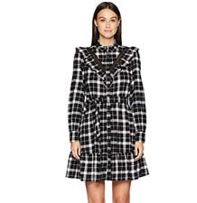 Kate Spade Rustic Plaid Black White Flannel Ruffle Shirt Dress Pockets NWT Small