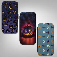 Teléfono Abatible estilo billetera con patrón de calabaza de Halloween Estuche Cubierta para IPHONE SAMSUNG HUAWEI