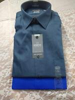 NWT Van Heusen Lux Sateen No Iron Wrinkle Free  Men's Stretch Button Dress Shirt
