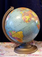 Handsome Replogle 12 Inch Reference Globe Metal Stand 1964