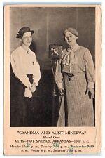 1934 Grandma Simpkins and Aunt Minerva, KTHS Radio 1040 Hot Springs, AR Postcard