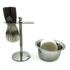 Men Shaving Stand for Razor Pure Bristle Brush Soap Bowl Drip Stand 4 in 1 kit