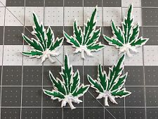 Cannabis Weed Marijuana Pot Leaf Green and White Embroidered Iron-On Patch LOT 5