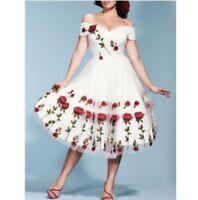 Women Lace Mesh Ladies Evening Party Off Shoulder Floral Retro 50s Vintage Dress