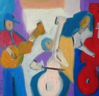 HINKLE musicians music  oil painting expressionism original art  modern cubism