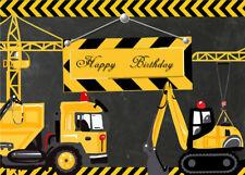 Construction Party Kids Happy Birthday 7X5FT Vinyl Studio Backdrop Background LB