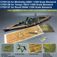 Super Upgrade Set for 1/350 Scale Bismarck Model (Wooden Deck Brass Barrel