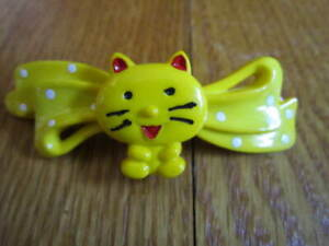 "Vintage Cat Barrette 1990s Plastic Happy  Polka Dots 2.5"" Girls Hair FREE SHIP"