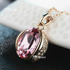 18K GOLD FILLED MADE WITH SWAROVSKI CRYSTAL FASHION OVAL PENDANT NECKLACE