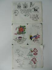 3 x disegnato a mano vintage A. matkin Tatuaggio Flash FOGLI 1994 non MACCHINA