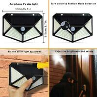 100 LED Solar Power PIR Sensor Motion Wall Light Outdoor Garden Lamp Waterproof