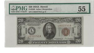1934A $20 Federal Reserve Note Hawaii- FR.2305- PMG55 About Uncirculated