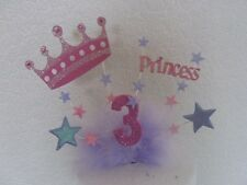 Large Crown Princess cake topper made with your choice Of age And Colours