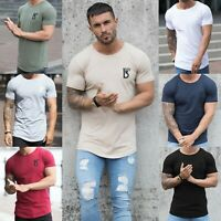 BBH Designer Mens Slim Fit Muscle T Shirt Gym Fitness Plain Curved Hem Tee Top