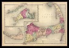 FRAMED 1871 Cape Cod Map 24x36 Antique Art Print Poster Home Decor
