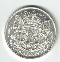 CANADA 1951 50 CENT HALF DOLLAR KING GEORGE VI CANADIAN .800 SILVER COIN