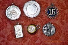 Sweet 16, 21, Happy Birthday 6 Vtg Strlg Silver Charms