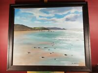 BEACH WALKING WITH DOGS SCENE NICE COLOURFUL PAINTING SIGNED IAN THOMLINSON