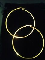 14KT GOLD & STS SNAP BACK ROUND HOOP EARRINGS  2 INCH SPECIAL!  50 MM