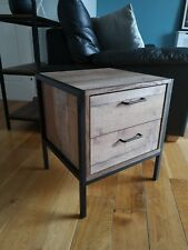 Industrial Chic 2 Drawer Bedside Lamp End Table Cabinet - Retro Side Unit