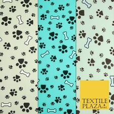 "Dog Bones Paw Prints Puppy Doggy Printed Poly Cotton Fabric Polycotton 45"" Wide"