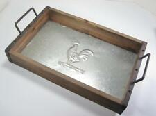Farmhouse Style Wood & Metal Decorative Tray with Embossed Rooster 18x11x5