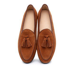 Mens Tassel Suede Leather Moccasin Gommino Slip on Loafers Belgian Shoes US10