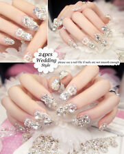 NEW 24pcs 3D Lady French Wedding Party Crown Glitter False Tips Fake Nails N057