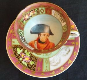 ANTIQUE HAND PAINTED NAPOLEON COFFEE CUP DECORATIVE DISH