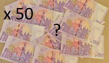 Lot Surprise 50 Billets Euros Schein Souvenir Touristique de 2018 à 2021