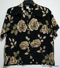 ICI Roses M Black Tan Polyester Button Short Sleeve Blouse Shirt Dress Casual