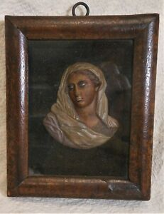 Great Antique 18th Century Wax Portrait Of a Lady In Scarf