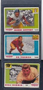 1955 Topps All American #43 SAVITSKY #58 FRANCO #70 DADDIO Football 3 Card Lot
