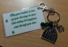 Keyring With Door/Shamrock/Green Beads - With Irish Blessing - May Your Troubles