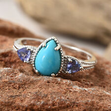 Arizona Sleeping Beauty Turquoise, Tanzanite Platinum Over Sterling Silver 7