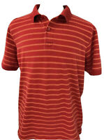 BANANA REPUBLIC Short Sleeve Pique Polo Shirt ~ Men's XL / Red Orange Stripe