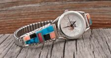 Navajo Women's Turquoise Pink Coral Onyx Inlay Silver Watch