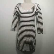 Abercrombie Fitch Dress Size Small Navy Blue Cream Striped Long Sleeve