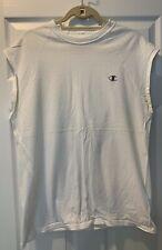 Champion Mens Athletic White Cotton L Sleeveless Shirt