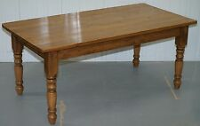 LARGE SOLID OAK HALO ANTIQUES VINTAGE DINING TABLE SEATS 4 - 6 PEOPLE REFECTORY