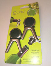 2 WINE BOTTLE STOPPER STABILISERS Quirky NY Vine Stop SILVER METAL BLACK RUBBER